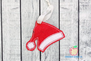 Red Santa Cap Ornament Christmas Embroidery Design By embroiderydesigns101