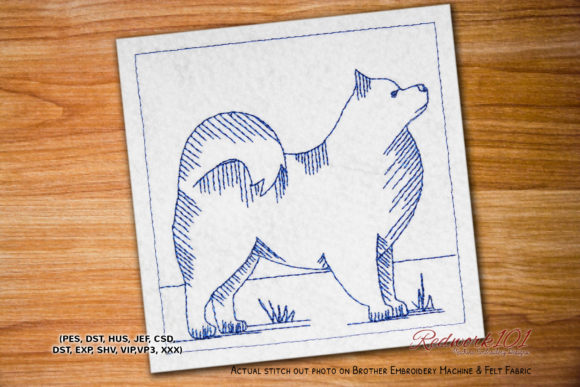 Samoyed Dog Redwork Dogs Embroidery Design By embroiderydesigns101
