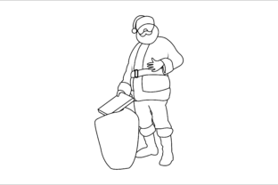 Santa Christmas Outline Bring Gifts Graphic Illustrations By faykproject