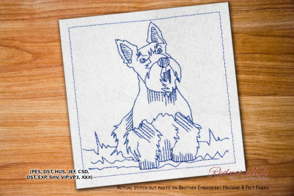 Scottie Dog Lineart Dogs Embroidery Design By embroiderydesigns101