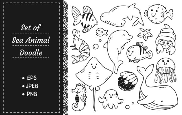 Sea Animals Doodle Kawaii Line Art Graphic Illustrations By Big Barn Doodles