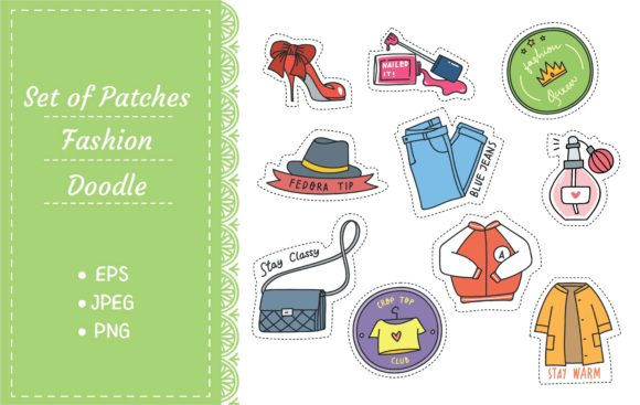 Set of Fashion Patches Graphic Illustrations By Big Barn Doodles