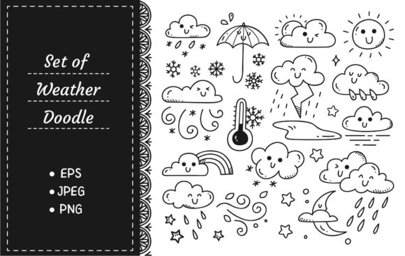 Set of Weather Doodles Vector Illustrati Graphic Illustrations By Big Barn Doodles