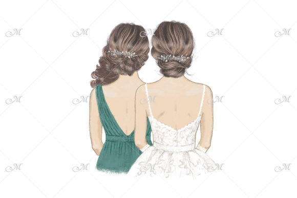 Sister of Bride Hand Drawn Illustration Graphic Illustrations By MaddyZ