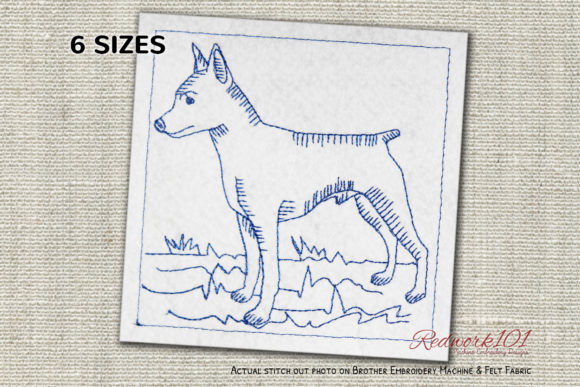 Standing Miniature Pinscher Dog Redwork Dogs Embroidery Design By embroiderydesigns101