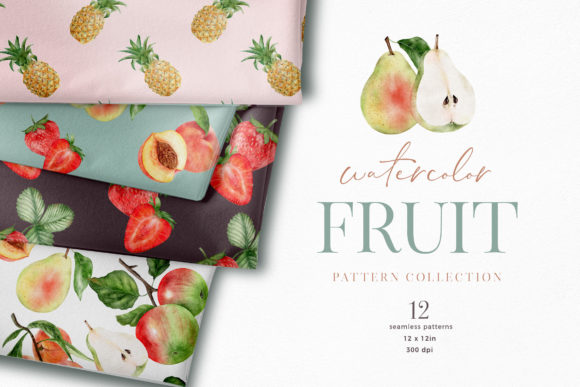 Summer Fruit Pattern Digital Paper Graphic Illustrations By Busy May Studio