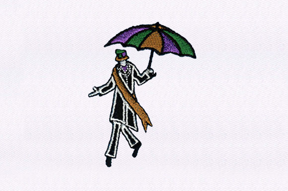 Tall Man with Umbrella Circus & Clowns Embroidery Design By DigitEMB