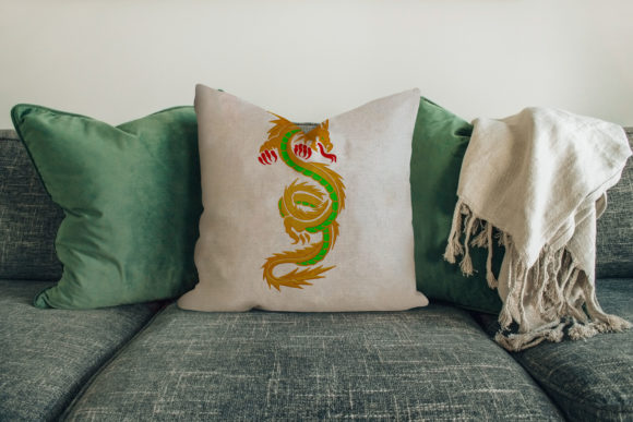 Traditional Chinese Dragon House & Home Embroidery Design By Digital Creations Art Studio