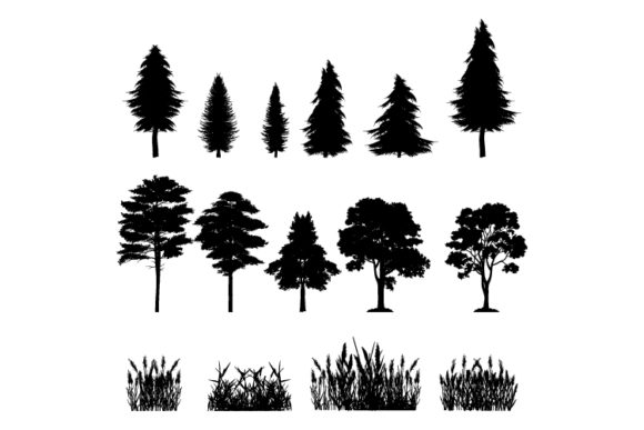 Print on Demand: Tree and Grass Silhouette Collection Gráfico Ilustraciones Por curutdesign