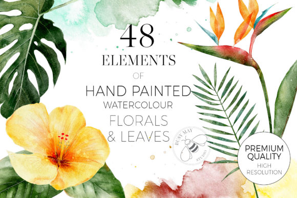 Tropical Flowers Leaves Watercolor Graphic Download