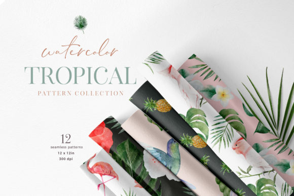 Tropical Watercolor Flower Bird Pattern Graphic Illustrations By Busy May Studio