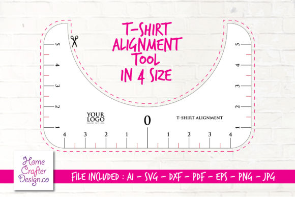 Print on Demand: T-Shirt Alignment Tool - 4 Size Variation Grafik Plotterdateien von Home Crafter Design.co