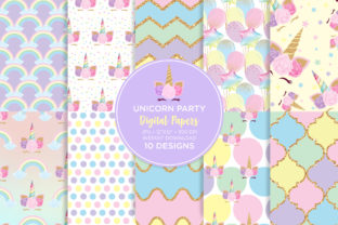 Print on Demand: Unicorn Birthday Digital Paper Graphic Patterns By Sgt.Ruthless