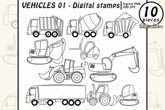 VEHICLE Digital Stamps, TRUCK Clipart Graphic Illustrations By clipartfables