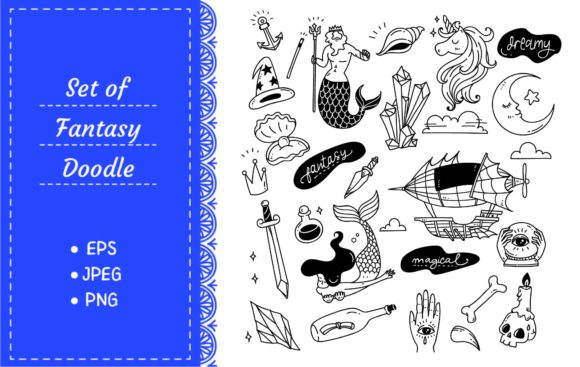 Various Doodle Set Isolated on White Graphic Illustrations By Big Barn Doodles
