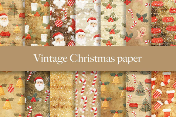 Print on Demand: Vintage Christmas Digital Paper Pattern Graphic Patterns By beracaink