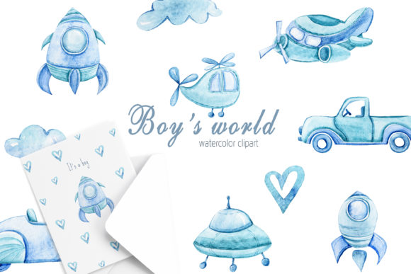 Print on Demand: Watercolor Boy's World Clipart Set Graphic Illustrations By Tiana Geo