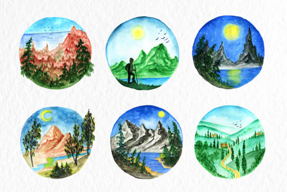 Watercolor Clipart,Clipart Mountains Graphic Illustrations By SavirinaArt
