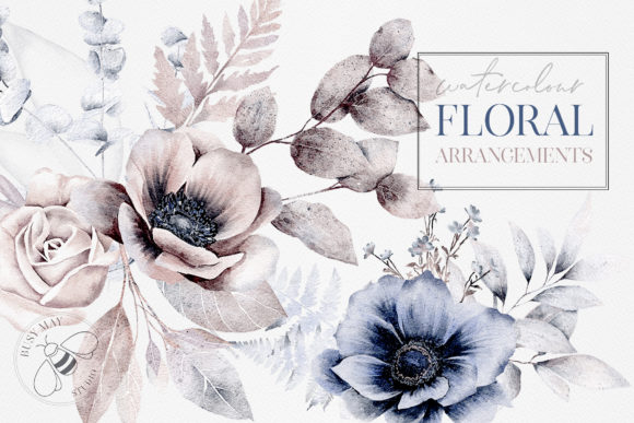 Watercolor Flower Arrangements Florals Graphic Illustrations By Busy May Studio