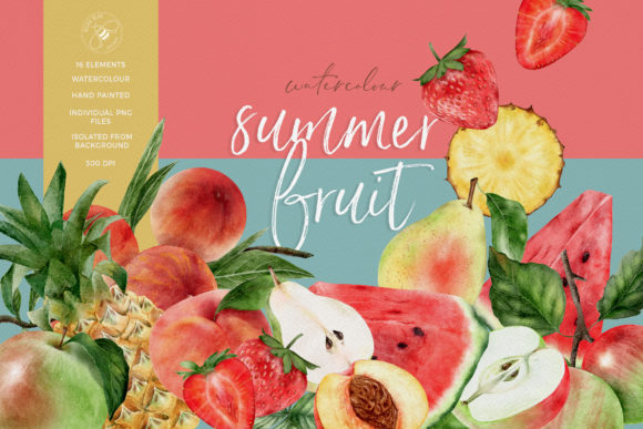 Watercolor Summer Fruit Collection Graphic Illustrations By Busy May Studio