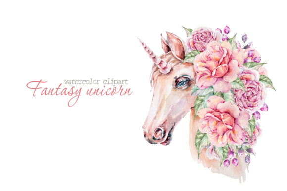 Print on Demand: Watercolor Floral Unicorn Clipart Graphic Illustrations By Tiana Geo