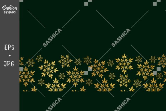 Weed Leaf Gold Border Pattern Graphic Patterns By sashica designs