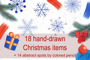 18 Hand-drawn Christmas Elements PNG Graphic Objects By Irisidia