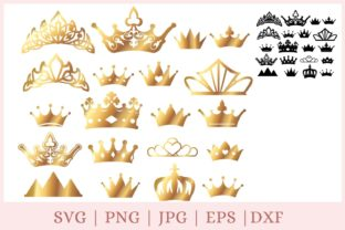 20 Gold Crown, Princess Tiara Pack Graphic Print Templates By CrazyCutDesigns