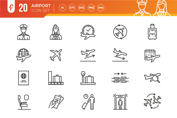 Airport Vector Line Icon Set Graphic Icons By ferart88