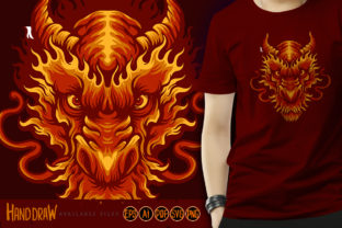 Angry Head Red Dragon Illustrations - 1