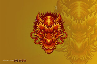 Angry Head Red Dragon Illustrations - 3