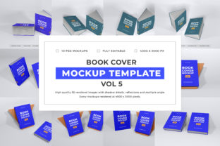 Print on Demand: Book Cover Mockup Template Bundle Vol 5 Graphic Product Mockups By dendysign