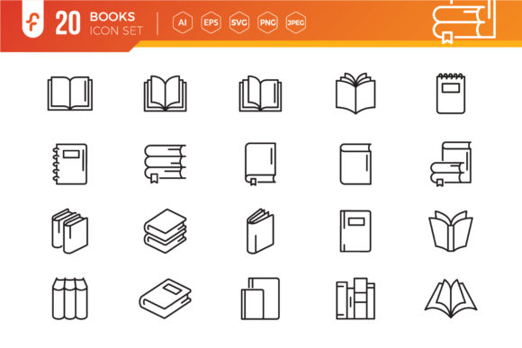 Books Line Icon Set Grafik Icons von ferart88