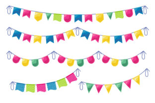 Print on Demand: Bunting Flags Banner Set Graphic Illustrations By edywiyonopp