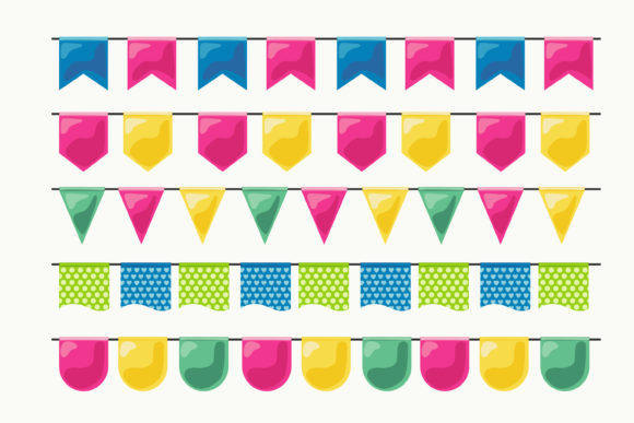 Print on Demand: Bunting Flags Banner Graphic Illustrations By edywiyonopp