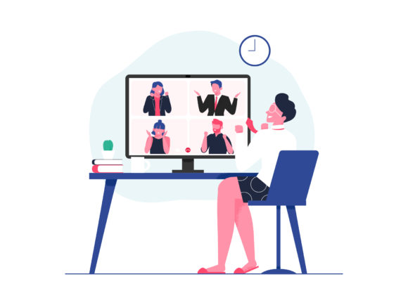 Business People in Video Conference Graphic Illustrations By Musbila