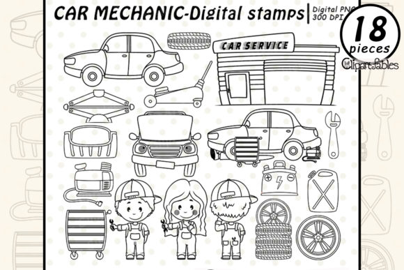 Car Mechanic Digital Stamps, Auto Shop Graphic Illustrations By clipartfables
