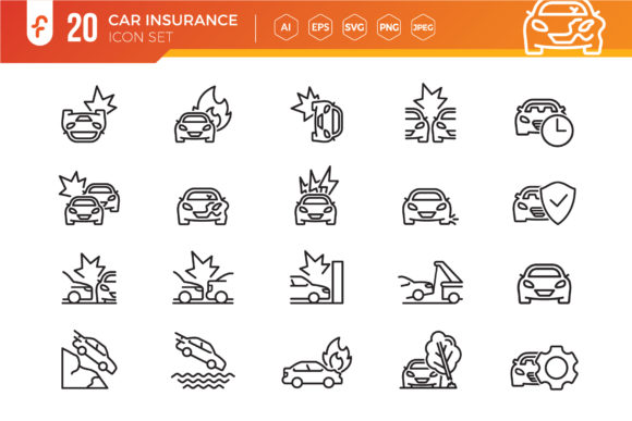 Car Accident Line Icon Set Graphic Icons By ferart88