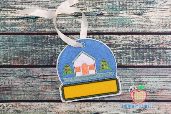 Christmas House in Snow Globe ITH House & Home Quotes Embroidery Design By embroiderydesigns101