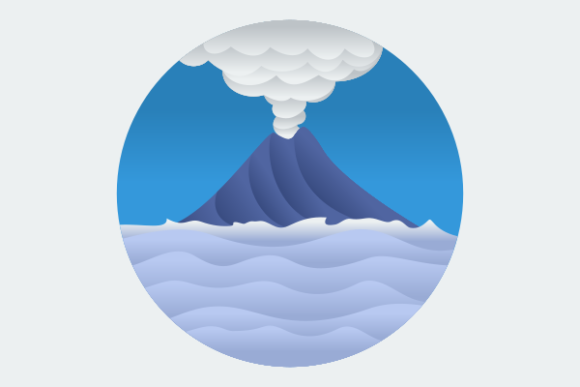 Circle Frame Volcano on Sea Illustration Graphic Illustrations By faqeeh