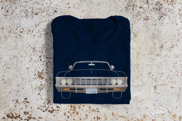 Classic Muscle Car Hobbies & Sports Embroidery Design By DesignedByGeeks