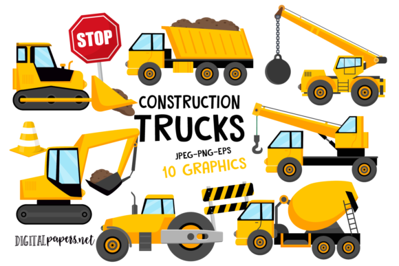 Print on Demand: Construction Trucks Clipart Set Graphic Illustrations By DigitalPapers