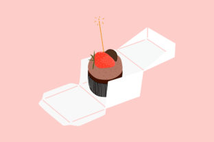 Print on Demand: Cup Cake with Candle and Packaging Box Graphic 3D Pillow Box By Musbila