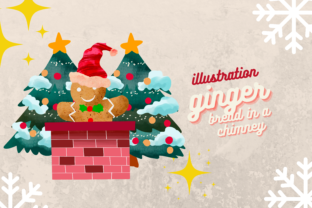 Print on Demand: Cute Ginger Bread in a Red Chimney Xmas Graphic Illustrations By meisanmui