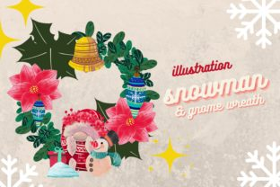 Print on Demand: Cute Snowman and Female Gnome with Bell Graphic Illustrations By meisanmui