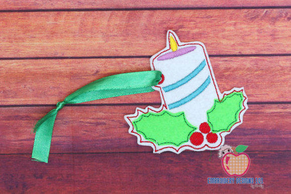 Decorative Candle Ornament Christmas Embroidery Design By embroiderydesigns101