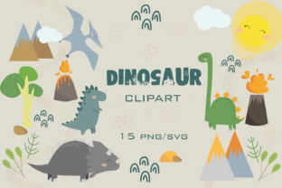 Dinosaur Clipart, Cute Dino Clipart PNG Graphic Illustrations By SleptArt