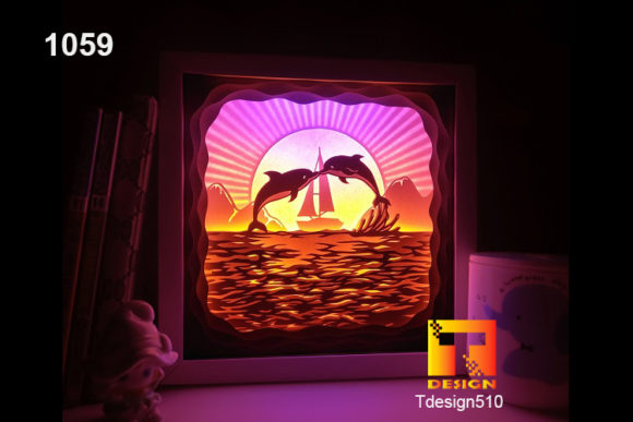 Dolphin Paper Cut Light Box Shadow Box Graphic 3D Shadow Box By Tdesign510