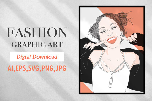 Print on Demand: Fashion Graphic Girl Has a Bright Smile Graphic Illustrations By Saydung89