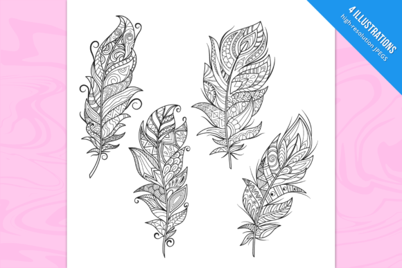 Feathers Coloring Pages Graphic Coloring Pages & Books By Cmeree